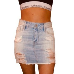 Hollister High rise distressed denim skirt